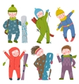 Skier Snowboarder Winter Clothes Sport Kids vector image