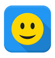 Smiling yellow face app icon with long shadow vector image vector image