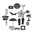 summer rest icons set simple style vector image vector image