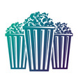 three bucket with pop corn snack vector image