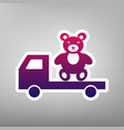 truck with bear purple gradient icon on vector image vector image
