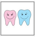 Two teeth smile background vector image vector image
