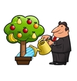 Watering the fruit tree vector image vector image