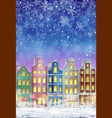 winter town at night with snow vector image vector image