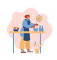 woman cooking at home vector image vector image