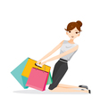 Woman holding shopping bags sitting on floor vector image