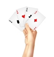 Regular playing cards spread holding hand vector image