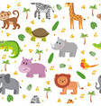 african animals seamless pattern cute cartoon vector image