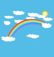 rainbow cloud and sun on sky sign vector image