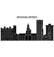 usa michigan detroit architecture city vector image