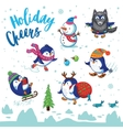 Holidays card with cute cartoon penguins vector image