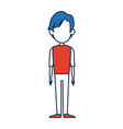 standing man people character with orange and vector image