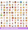 100 favorite food icons set cartoon style vector image vector image