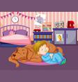 a baby sleep with dog vector image