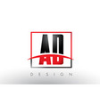 ad a d logo letters with red and black colors and vector image vector image
