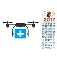 Ambulance Drone Icon With 2017 Year Bonus Symbols vector image vector image