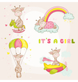 Baby Girl Giraffe Set - Baby Shower Card vector image vector image