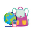back to school globe backpack pencils color vector image vector image