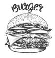 big burger hamburger hand drawn vector image vector image