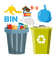 bin trash icons classic and recycling bins vector image vector image