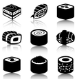 black sushi icon set vector image vector image