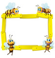 blank sign template with many bees on white vector image