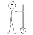 cartoon man or construction worker holding vector image vector image