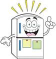 Cartoon refrigerator with an idea vector image vector image