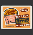 chicken nuggets retro card of fast food restaurant vector image vector image