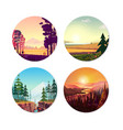 collection of round on nature city vector image vector image