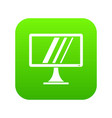 computer monitor icon digital green vector image vector image