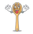 crazy wooden fork mascot cartoon vector image vector image