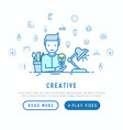 creator generates idea with thin line icons vector image vector image