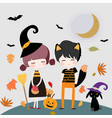 cute character witch and happy halloween vector image vector image
