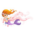 cute young mermaid and flowers cartoon vector image