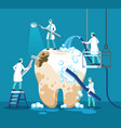 dentist treating tooth small stomatologist vector image