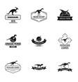 dinosaur study logo set simple style vector image