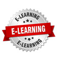 e-learning 3d silver badge with red ribbon vector image vector image