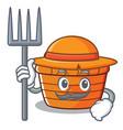 farmer fruit basket character cartoon vector image
