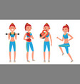 fitness girl set modern workout with vector image