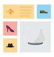 flat icon clothes set heeled shoe panama vector image
