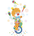 funny clown juggler and equilibrist vector image vector image