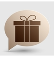 Gift box sign Brown gradient icon on bubble with vector image vector image