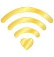 gold heart wifi icon vector image vector image