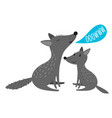 grey wolves with ooowww speak bubble vector image