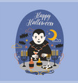 happy halloween banner with funny smiling dracula vector image vector image