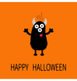 Happy Halloween card Black silhouette monster with vector image vector image