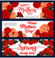 happy mother day banner with rose flower frame vector image