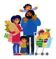 Happy young family shopping father mother and