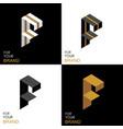 isometric set letter f black white gold palette vector image